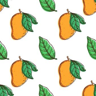 新鮮なマンゴーとのシームレスなパターン