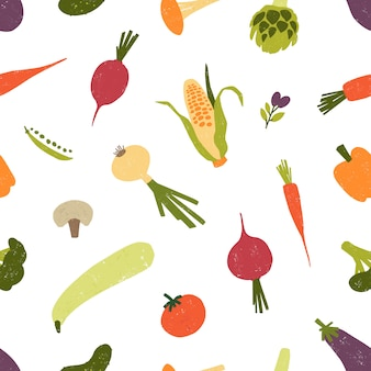 Seamless pattern with fresh organic vegetables or harvested crops scattered on white background. backdrop with healthy veggie food products. illustration for textile print, wrapping paper.