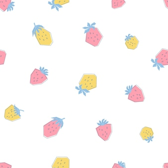 Seamless pattern with fresh pink and yellow strawberries. print in flat style with summer berries on white background. illustration for kids, clothes, textiles, wallpaper. vector
