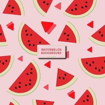 평면 디자인의 분홍색 배경 여름 컨셉 디자인에 신선하게 익은 수박과 원활한 패턴