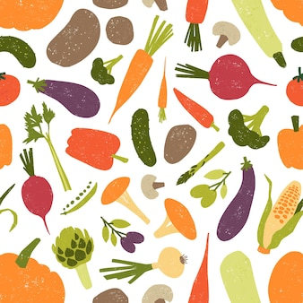 Seamless pattern with fresh tasty organic vegetables and mushrooms on white background.
