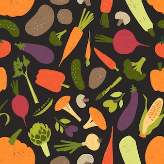 Seamless pattern with fresh tasty vegetables and mushrooms