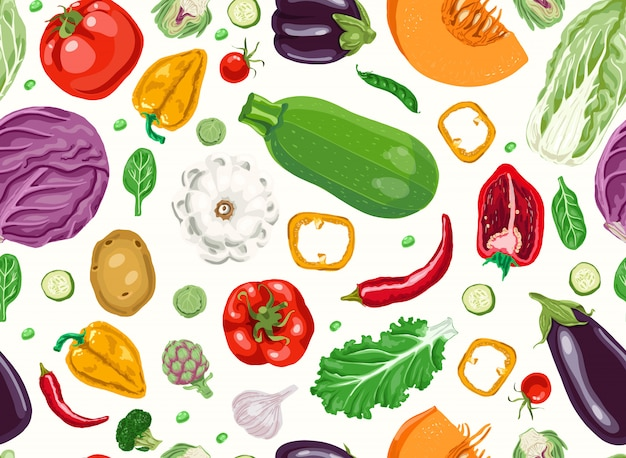 Seamless pattern with fresh vegetables.