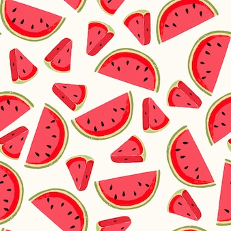 Seamless pattern with fresh watermelon. cute background