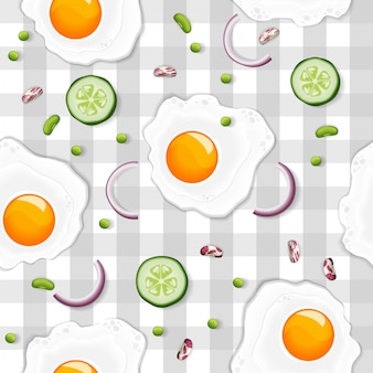 Seamless pattern with fried egg