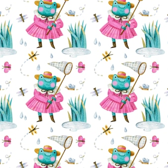 Seamless pattern with frog in dress and hat