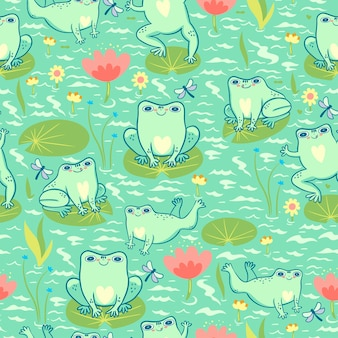 Seamless pattern with frogs in the pond