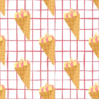Seamless pattern with frozen ice cream. white chequered background and cream in yellow and pink colors.