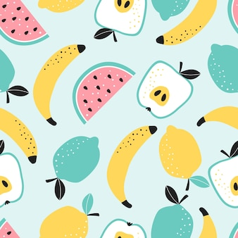 Seamless pattern with fruit apple watermelon banana lemon and lime vector illustration