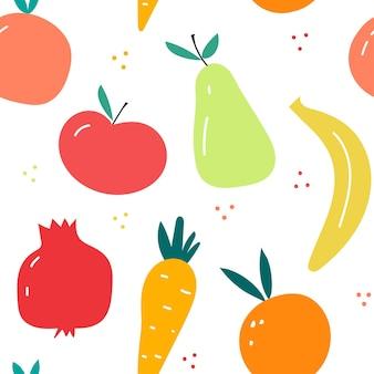 디자인 부엌 벽지 섬유에 대 한 과일 다채로운 벡터 일러스트와 함께 원활한 패턴