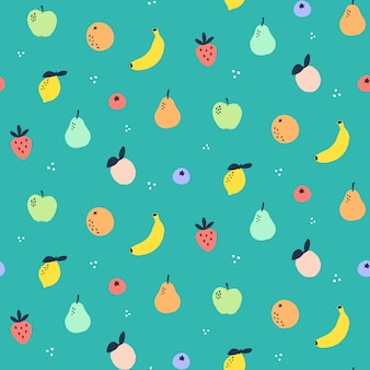 Seamless pattern with fruit doodles