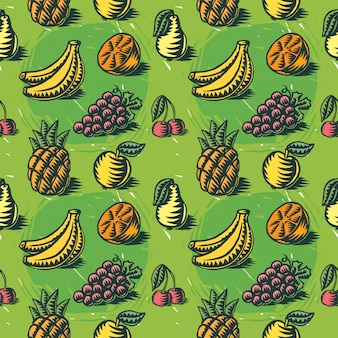 Seamless pattern with fruit illustrations