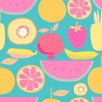Seamless pattern with fruit. vector illustrations for gift wrap design.