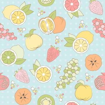 Бесшовный фон с фруктами и ягодами