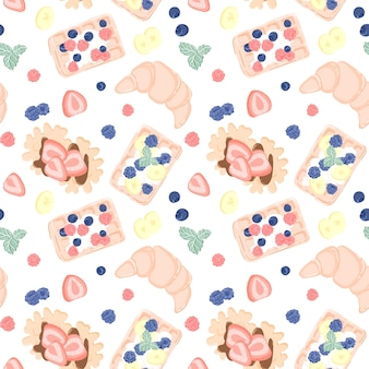 Seamless pattern with fruits, berries, waffles and croissant. seamless design for textile or background with belgian waffles.