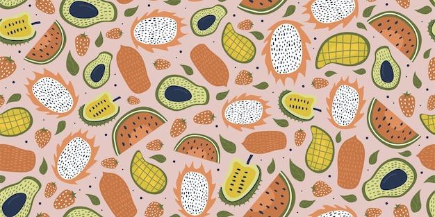 과일 그리기와 잎으로 완벽 한 패턴
