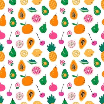 果物とのシームレスなパターン。手で書いた