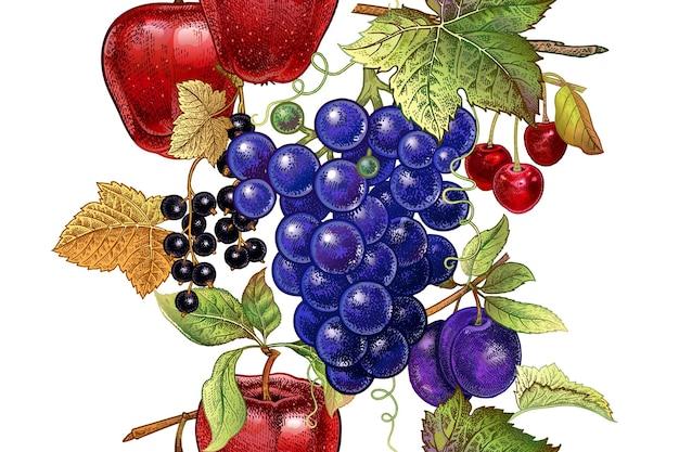 白い背景の上の果物とのシームレスなパターン
