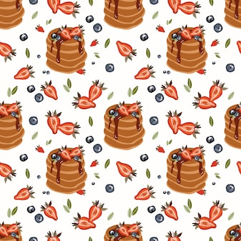 Seamless pattern with fruits and pancake.