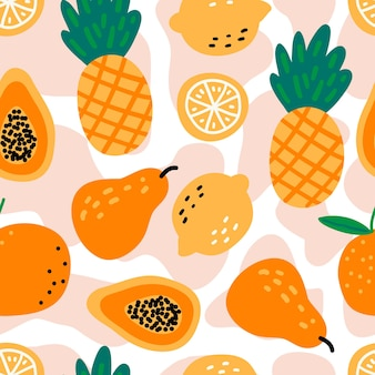Seamless pattern with fruits pineapples, lemons, papaya, pear, orange on white background.