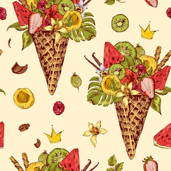 Seamless pattern with a fruity cocktail in waffle cone