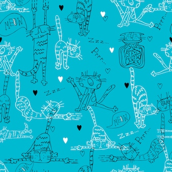Seamless pattern with fun doodle cats.