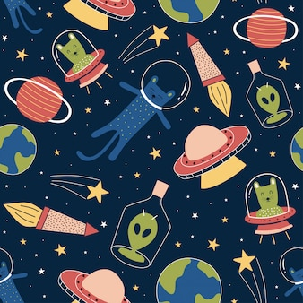 Seamless pattern with funny aliens and cat on galaxy