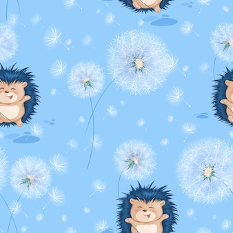 Seamless pattern with funny blue hedgehog and white summer dandelions.