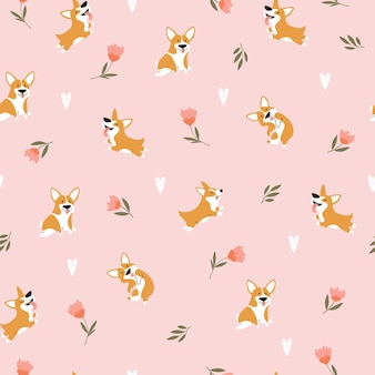 Seamless pattern with funny cartoon corgis dogs