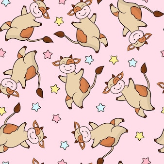 Seamless pattern with a funny cartoon dancing cow