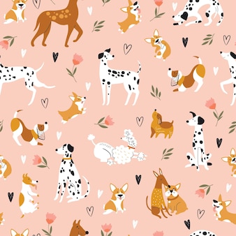 Seamless pattern with funny cartoon dogs