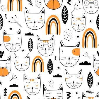 Seamless pattern with funny cat heads scandinavian childish drawing