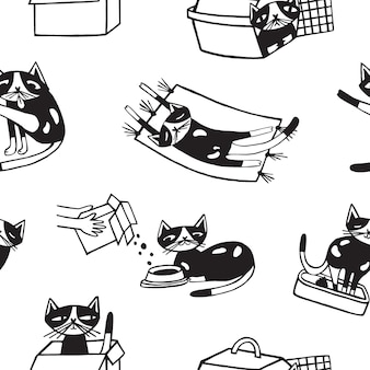 Seamless pattern with funny cat washing itself, eating, sleeping, sitting inside carton box and carrier.