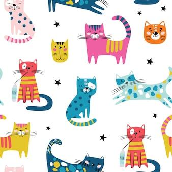 面白い猫とのシームレスなパターン。