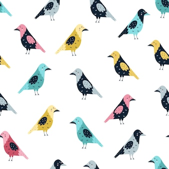 Seamless pattern with funny crows illustration