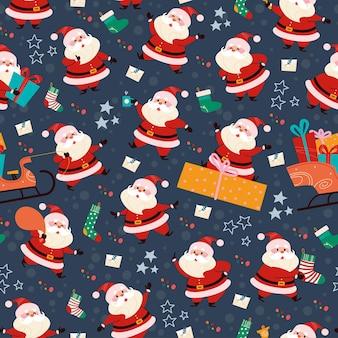 선물, 스타킹, 선물 가방, 썰매를 가진 재미있는 다른 산타클로스 캐릭터와 함께 매끄러운 패턴입니다. 크리스마스 카드, 초대장, 포장지 등 벡터 평면 만화 그림입니다.