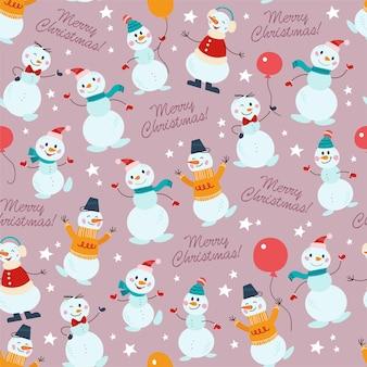 모자, 스웨터, 풍선이 달린 나비 넥타이, 고립된 손으로 쓴 재미있는 다른 눈사람 캐릭터와 함께 매끄러운 패턴입니다. 크리스마스 카드, 초대장, 포장지. 벡터 평면 만화 일러스트 레이 션