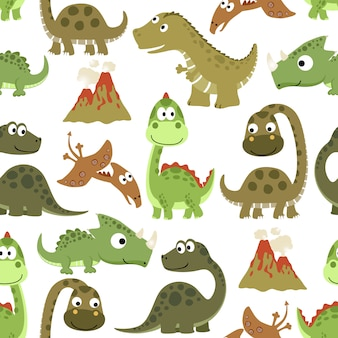 Seamless pattern with funny dinosaurs cartoon