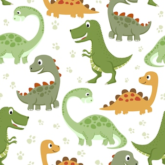 Seamless pattern with funny dinosaurs