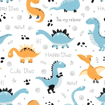 Seamless pattern with funny dinosaurs.