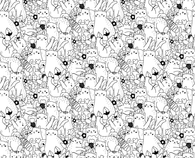 Seamless pattern with funny doodle cats and flowers