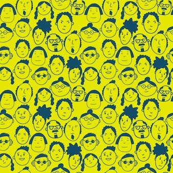 재미있는 낙서가 있는 매끄러운 패턴 다양한 사람들이 직물과 벽지를 위한 귀여운 단순한 질감에 직면해 있습니다...