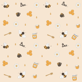 Seamless pattern with funny flying bees, daisies and drops of honey, honey spoon, jars and mugs with honey.
