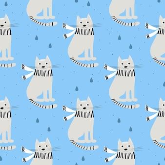 재미 있는 손으로 그린 고양이와 함께 완벽 한 패턴입니다. 사랑스러운 새끼 고양이와 동물 벡터 일러스트 레이 션. 직물, 섬유 디자인, 포장지 또는 벽지를 위한 경작 가능한 배경.