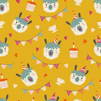 Seamless pattern with funny llamas face wearing party hat, birthday cakes, hearts and flags. festive vector background in flat style. cute cartoon animals.
