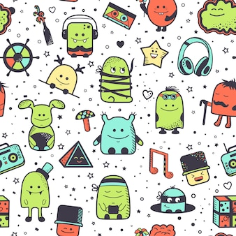 Seamless pattern with funny monsters. cartoon hand drawn characters, colorful unusual creatures.