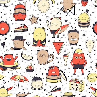 Seamless pattern with funny monsters. cartoon hand drawn characters,  unusual creatures.