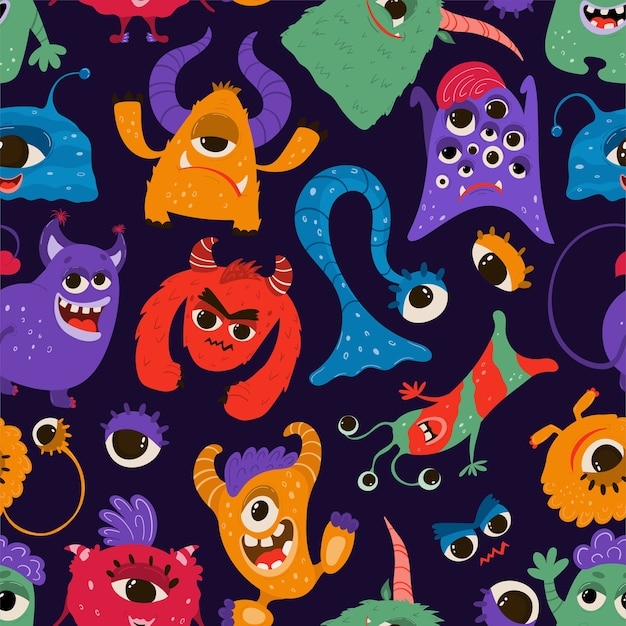 Seamless pattern with funny monsters in cartoon style. children's background with cute characters