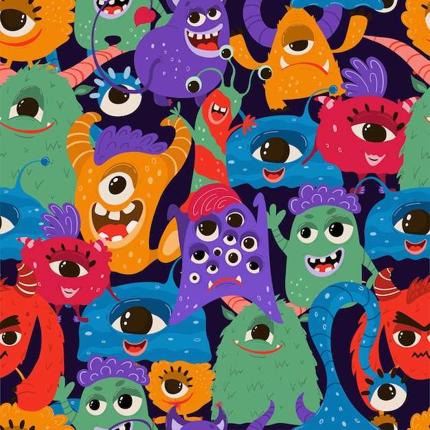 Seamless pattern with funny monsters in cartoon style