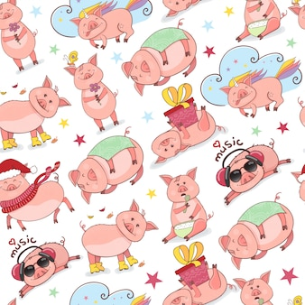 Seamless pattern with funny piggy